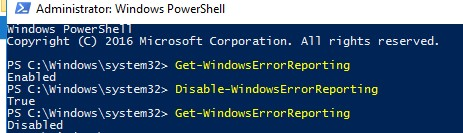 Disable-WindowsErrorReporting -отключитьWER с помощью PowerShell