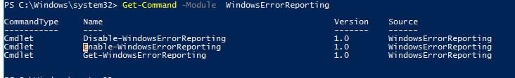 PowerShell модуль WindowsErrorReporting