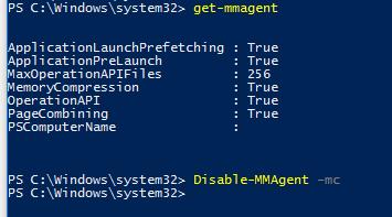 Disable-MMAgen - MemoryCompression - отключить сжатую память в Windows 10