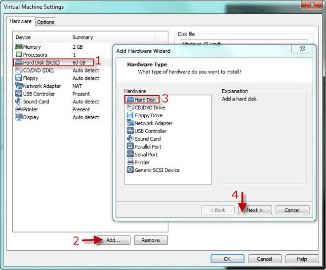 добавить новый виртуальный диск