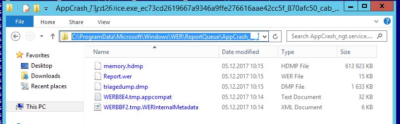 файлы Report.wer и memory.hdmp