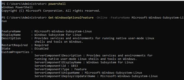 Get-WindowsOptionalFeature -Online -FeatureName Microsoft-Windows-Subsystem-Linux