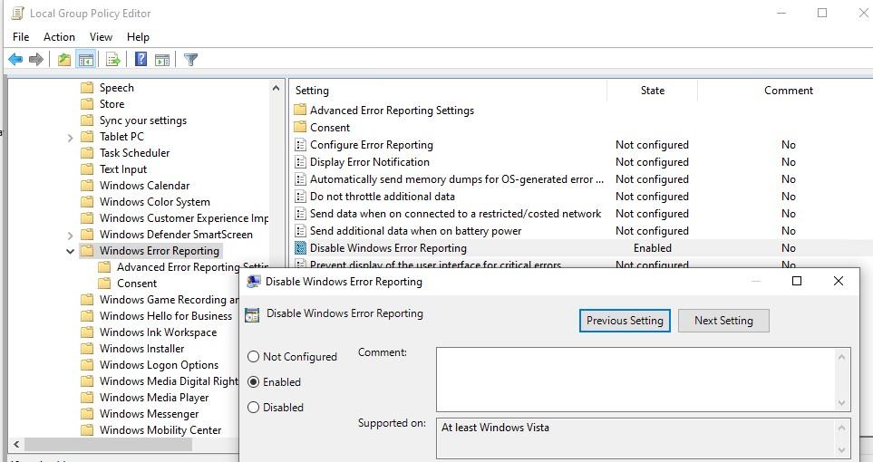 gpo отключить windows error reporting