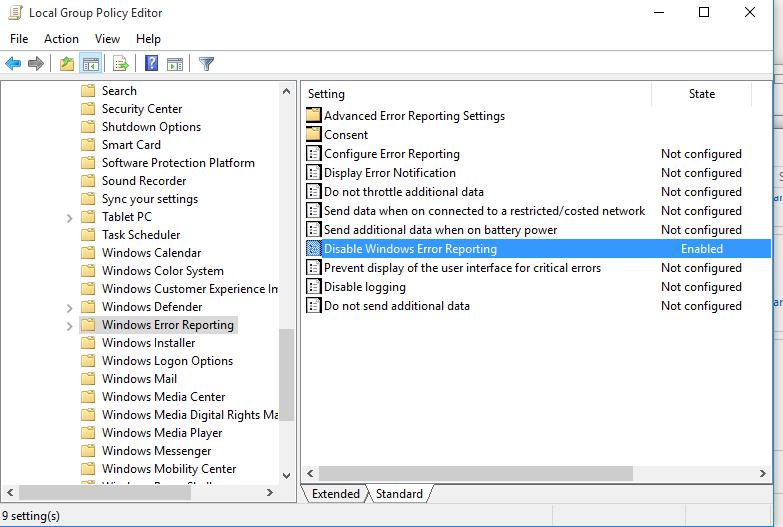 групповая политика - Отключить отчеты об ошибках Windows