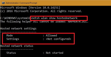 Hosted network settings - Not configured