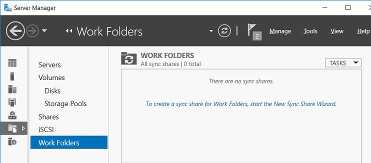 настройка роли Work Folders