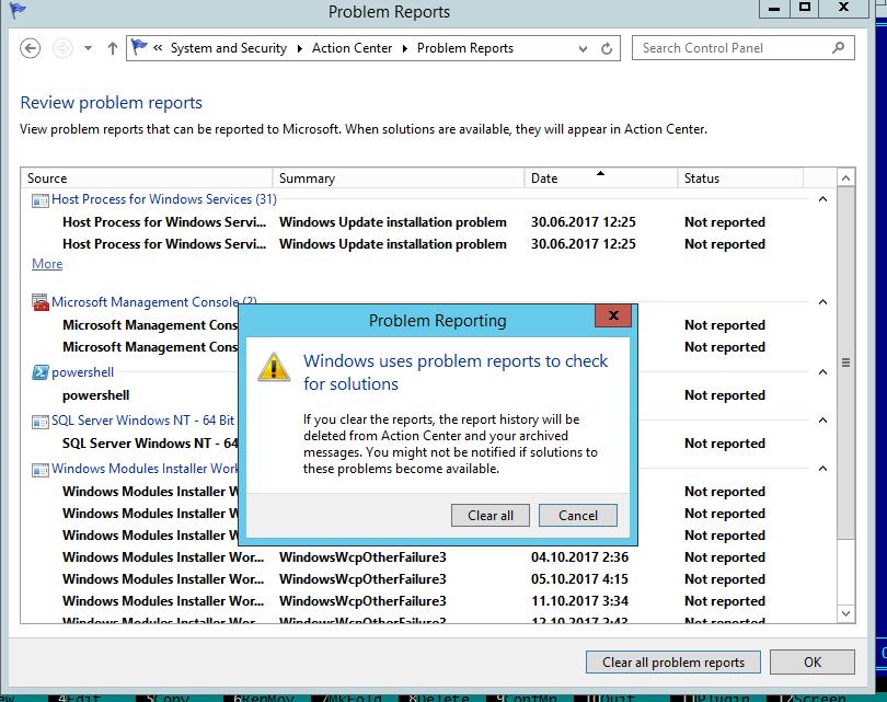 очистка всех сообщений об ошибка Clear all problem reports