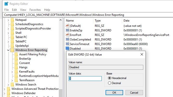 отключить windows error reporting через системный реестр