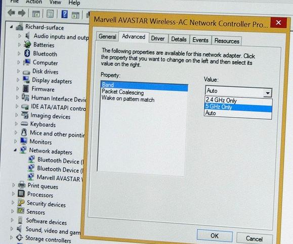поддержка wi-fi сетей 5 ггц и 2.4 ггц в свойствах wlan адаптера