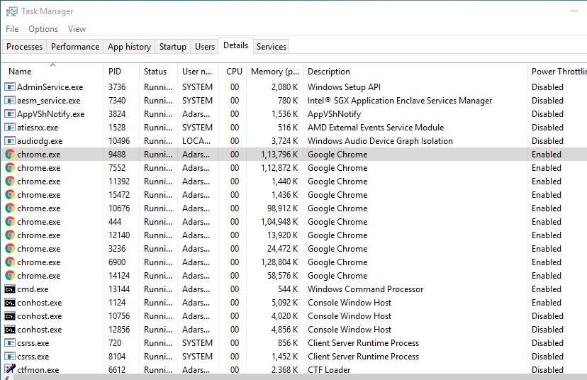 регулирование мощности включено для chrome в windows 10