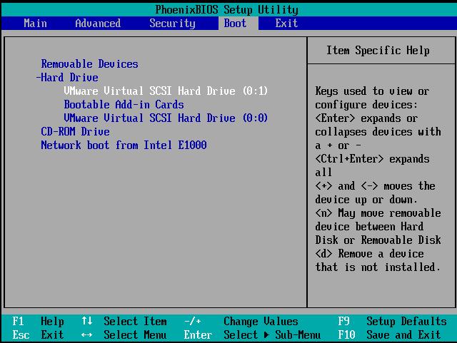 смена приоритета загрузочных устройств в БИОС vmware