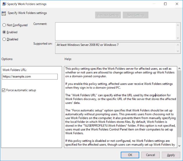 Specify Work Folders Settings