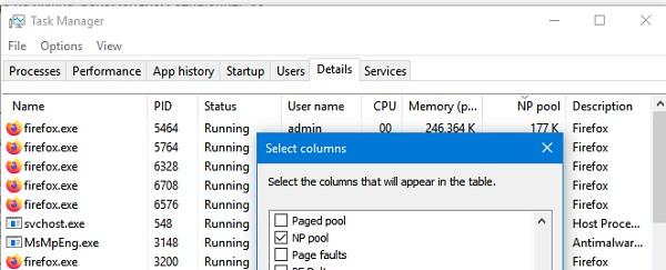 показывать размер невыгружаемого пула процессов в taskmanager Windows 10