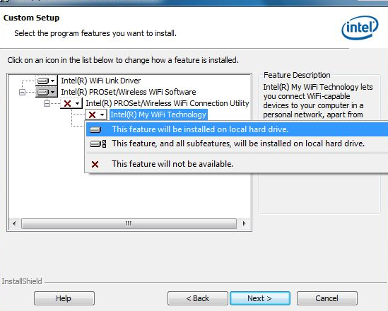 удаление компонента Intel My WiFi Technology