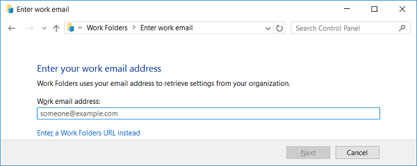 URL адрес сервера Work Folders