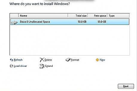 установка windows в неразмеченую область
