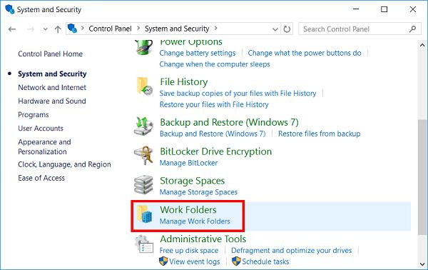 Work Folders в панели упраления