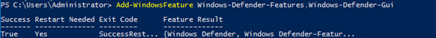 Add-WindowsFeature Windows-Defender-Features
