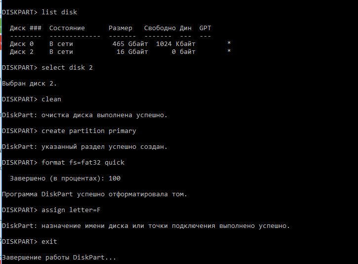DiskPart - форматирование флешки