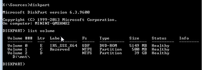 DISKPART - определение дисков