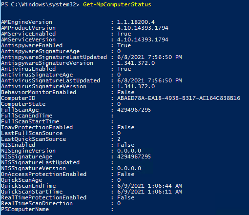 Get-MpComputerStatus команда проверки состояния антивируса Microosft Defender