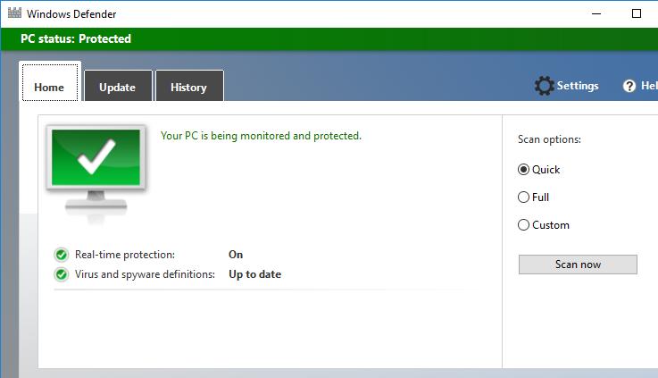 графический интерфейс Windows-Defender