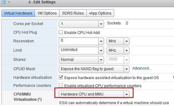 Hardware CPU and MMU включить в VMWare