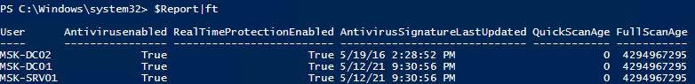 Опрос состояния Microsoft Defender на серверах Windows Server в домене Active Directory через PowerShell