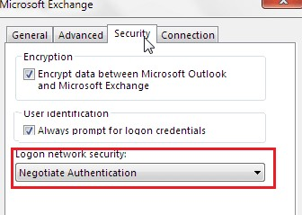outlook настройка logon network security