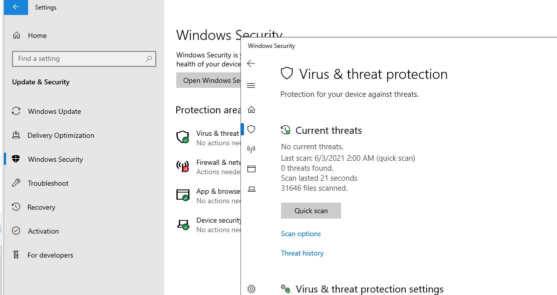 Панель управления Virus and threat protection в Windows Server 2019