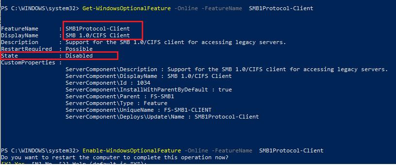 powershell - Enable-WindowsOptionalFeature SMB1Protocol-Client