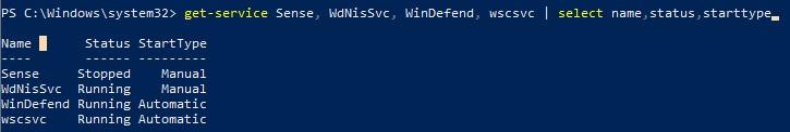 powershell проверить службы microsoft defender в windows 10