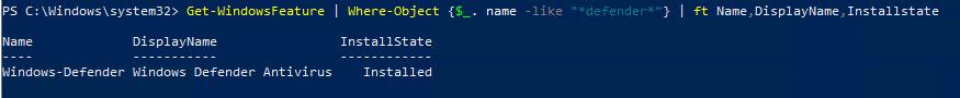 проверить, что движок Microsoft Defender антивируса установлен в Windows Server