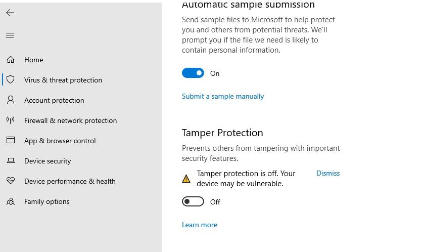 tamper protection в microsoft defender в windows 10