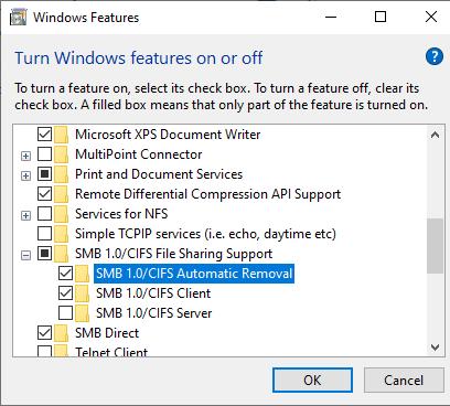 включить smb1 клиент в windows 10