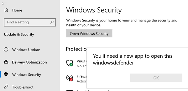 Windows Security You'll need a new app to open this windowsdefender