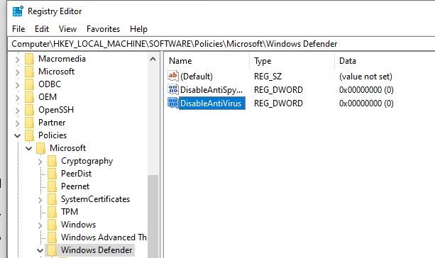 windows 10 параметре реестра DisableAntiVirus
