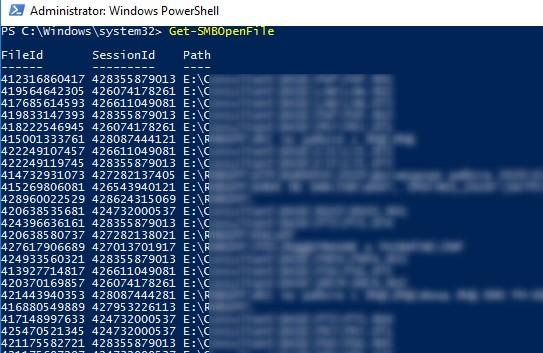 Get-SMBOpenFile вывод списка открытых файлов на SMB сервере с помощью powershell