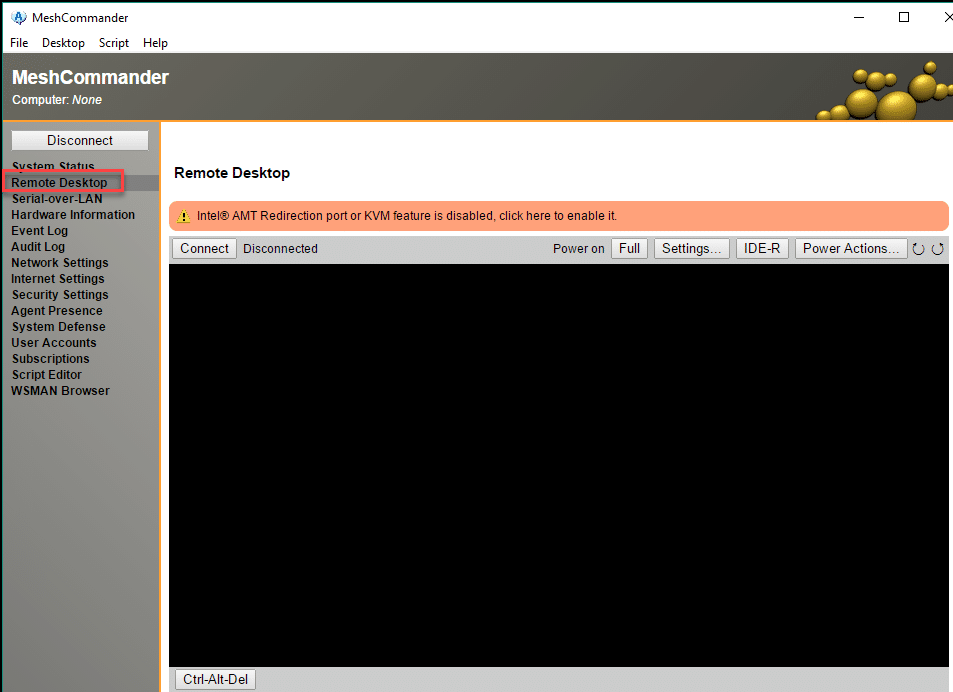 MeshCommander - включить удаленный доступ KVM