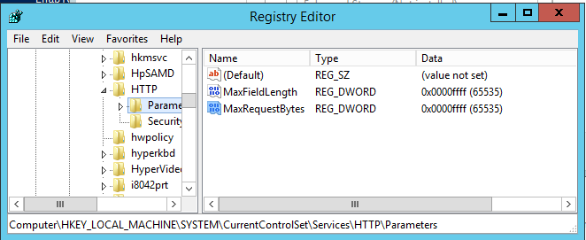 HTTP MaxRequestBytes