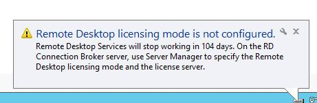 Licensing mode for the Remote Desktop Session Host is not configured