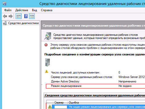 Не задан режим лицензирования для сервера узла сеансов удаленных рабочих столов