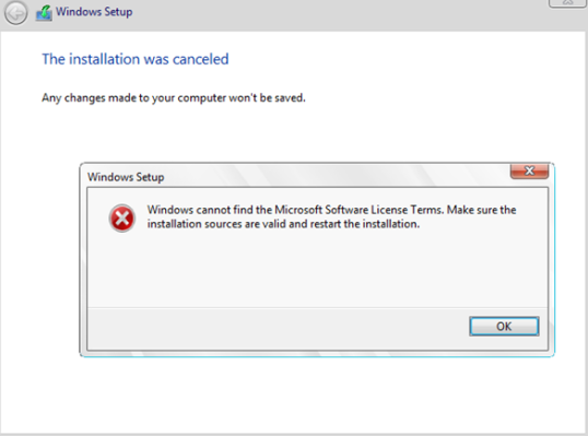 Windows cannot find the Microsoft Software License Terms