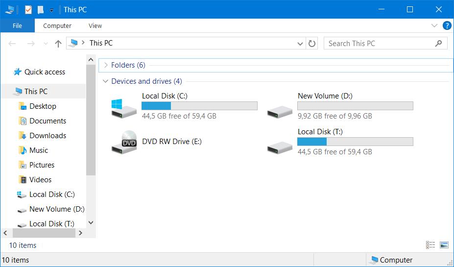 Windows Explorer диски