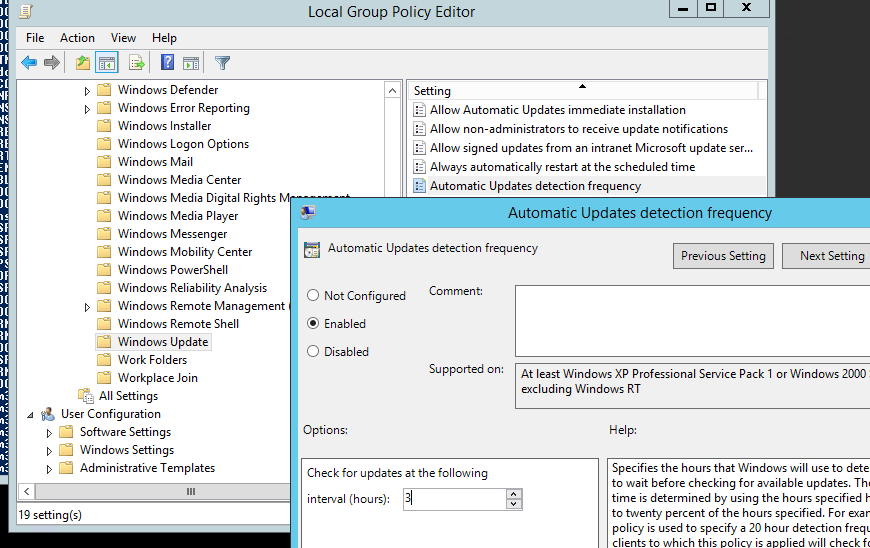 Automatic Update detection frequency - политика частоты выполнения сканирования на wsus