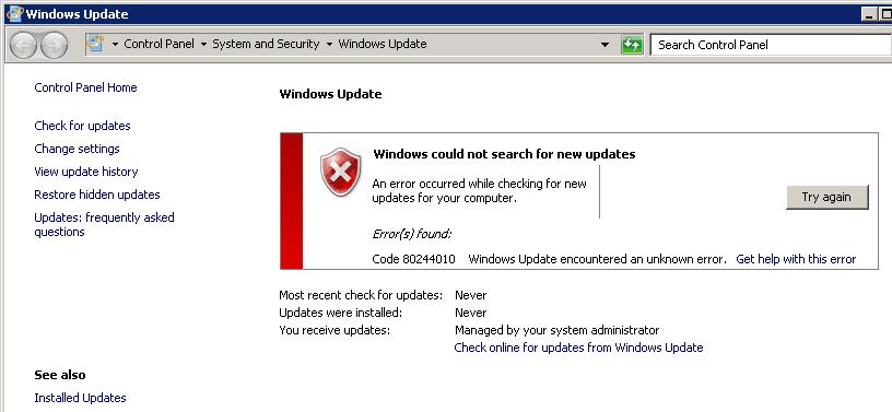 ошибка обновления windows 0x80244010