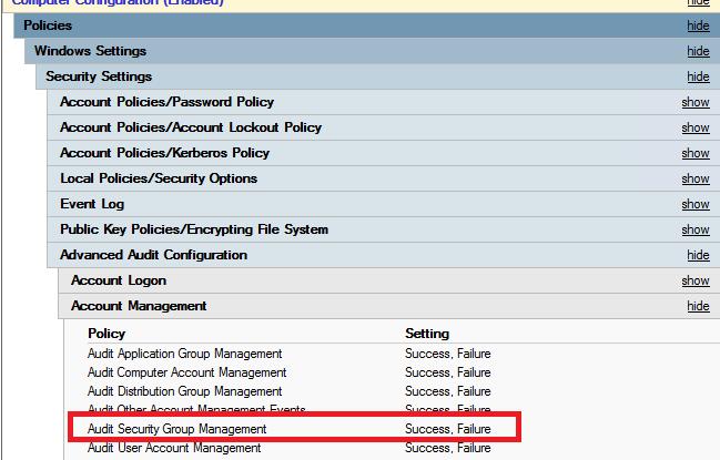политика аудита изменений в группах active directory