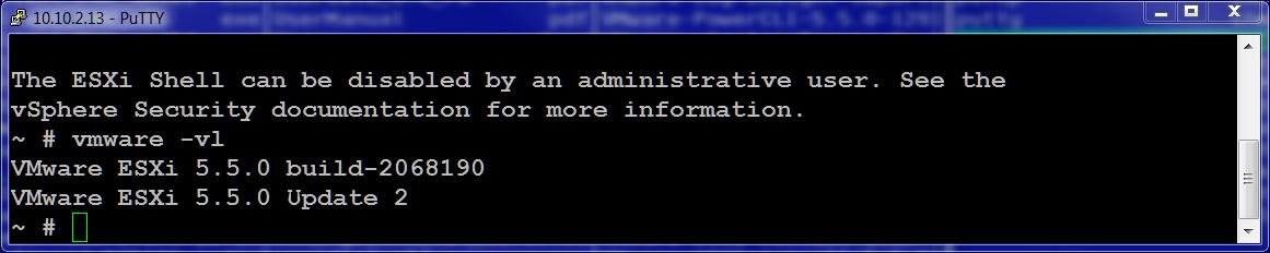 получить номер установленной версии ESXi