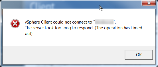 The vSphere Client could not connect to vCenter server . The server vCenter server took too long to respond. (