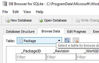 таблица packafe файла базы приложений windows